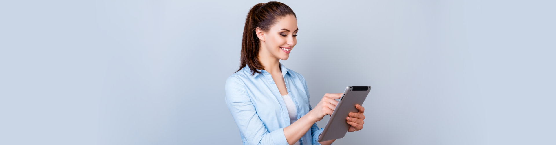 a woman with a tablet